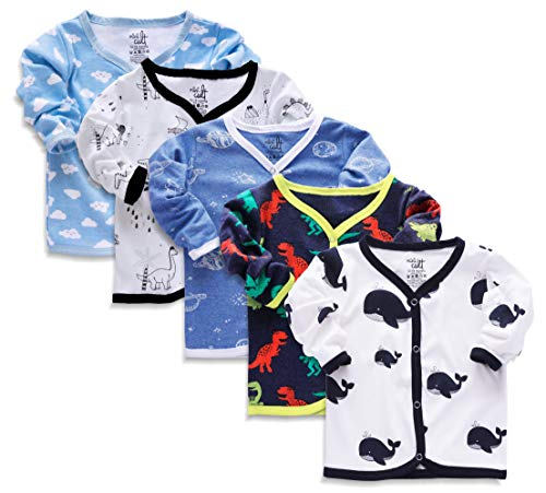 X2O Cotton Unisex Front Open Full Sleeve T-Shirt with snap Buttons and Cute Prints(Pack of 5 Jhabla) (Multicolor/Assorted)