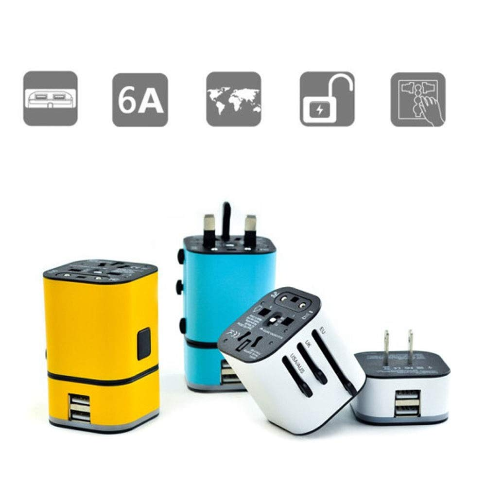 QIANZICAIDIAN Travel Adapter Color : White Arts black//Blue//White//Yellow Easy To Use 2USB Charging Port Design Style Sports, Safe And Comfortable Use