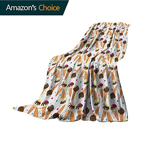 (Ice Cream Digital Printing Blanket,Chocolate Covered Ice Cream with Colorful Little Dots Frozen Desert Waffle Cones Blanket for Sofa Couch TV Bed All Season,30