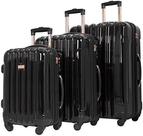"kensie 3 Piece ""Alma"" Light Metallic Style TSA-Lock Spinner Luggage Set, Midnight Black Option"