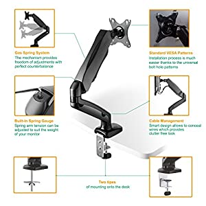 ONKRON Desk Mount Articulating Arm for LED LCD Flat Panel TV Screens and Monitors 13'' – 27 inch up to 14.3 lbs Full Motion Adjustable G80 Black
