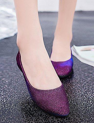 zapatos talón plano casual oro cn39 sintético negro black de cuero eu39 vestido PDX plata us8 mujer carrera púrpura oficina y uk6 ZYXwEqP