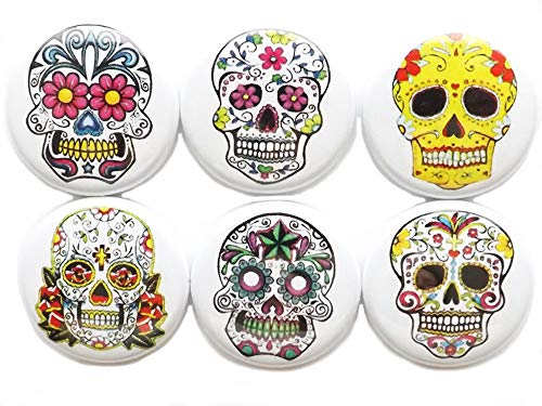 Day of the Dead Sugar Skull Dia De Los Muertos 1 inch Magnets Skeleton Calavera Stocking Stuffers Party Favors Halloween Treats Gifts Wedding]()