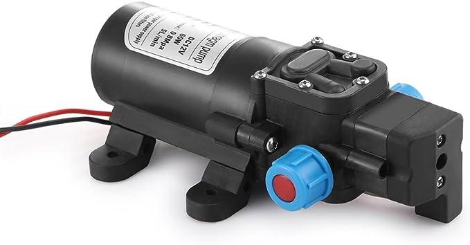 Bomba de Agua Autocebante de Micro Diafragma de Alta Presi/ón Autom/ática DC 12V 60W 4.5L//min Poweka para Caravana Barco Jard/ín Marino