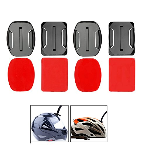 VVHOOY Flat + Curved Adhesive Mounts with Sticky Tape Compatible with AKASO EK7000/DBPOWER EX5000 Action Camera use for Helmet, Skiboard, Snowboard, Surfboard, Cars, Kayak Accessories