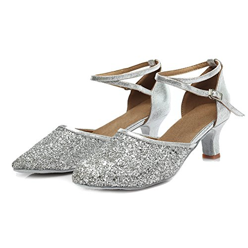 Tacón 7CM 5CM Plateado Baile Lentejuelas Zapatillas Mujer 1802 ES de para de Modelo Zapatos SWDZM 84vxqRUw