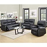 BestMassage Recliner Sofa Leather Set 3 PCS Motion Sofa Loveseat Recliner Leather Sofa Recliner Couch Manual Reclining Chair 3 Seater for Living Room