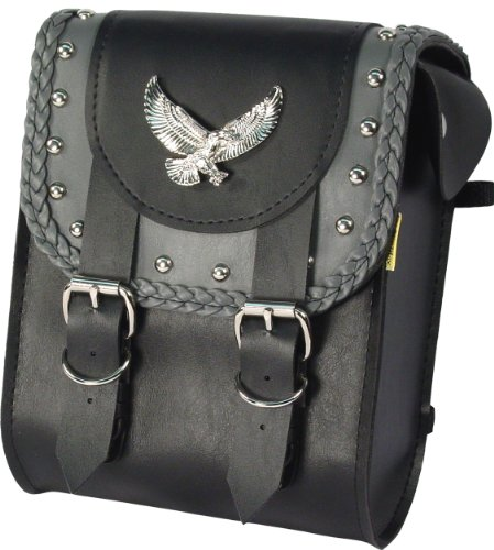 Dowco Willie & Max 58445-01 Thunder Series: Synthetic Leather Studded Motorcycle Sissy Bar Bag, Black and Grey, Universal Fit, 37 Liter Capacity (Designs Lee Shoei Troy)