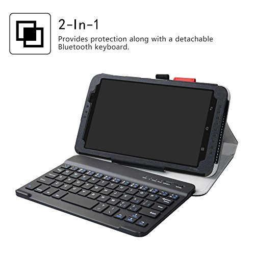 Yuntab H8 Bluetooth Keyboard Case,LiuShan Detachable Wireless Bluetooth Keyboard Standing PU Leather Cover for 8.0'' Yuntab H8 Android Tablet,Black by LiuShan (Image #2)
