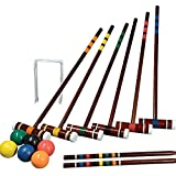 Angelwing Complete Croquet Set for 6 Players Outdoor Family Lawn Game Backyard Sports Play