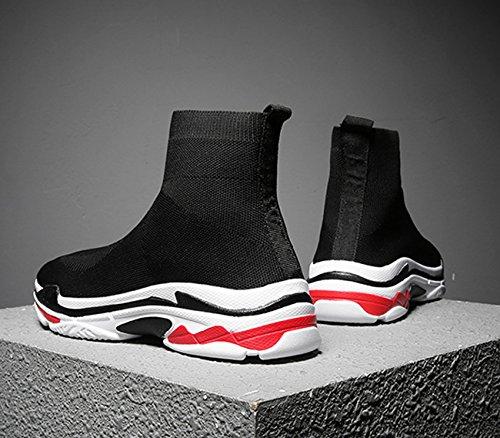 Taglio Scarpe NEWCOLOR da Maglia con Rosso Fannullone Paio Ginnastica Sneakers Scarpe da Comfort Nero Ginnastica Passeggio da Alto Unisex in 11rSfq0