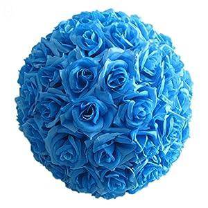 heaven2017 Fake Flowre Ball, Wedding Artificial Rose Silky Flower Ball for Bridal Wedding Bouquets Centerpieces Baby Shower Home Decor - (8 Inch, 1 Piece) Light Blue 23