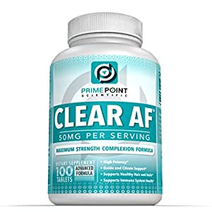 Prime Point Scientific CLEAR AF Best Acne Fighter Advanced Complexion Formula for Clear Skin for Teens and Adults With Mild to Moderate Acne, Cystic Acne and Hormonal Acne on Face and Back, 100 Tabs