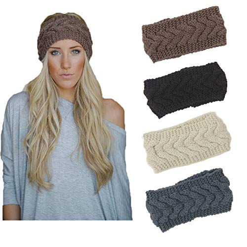 (4 Pack Knit Headbands Winter Braided Headband Ear Warmer Crochet Head Wraps for Women Girls H7 (4 Color Pack G))