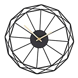 Moonsteps Modern Abstract Artsy 14 Black Iron Frame + Gold Minute & Hour Hand Wall Clock