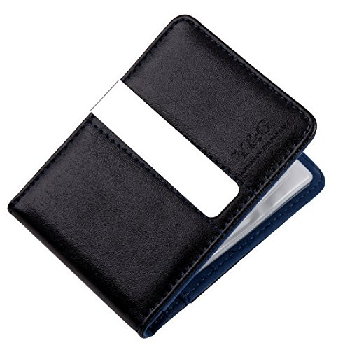 Y&G YCC1006 Gift Certificate Gift Blue Black Best Leather Wallet Money Clip 15 Card Holder Father Days Fashion -
