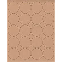 """(12 SHEETS) 240 2"""" Blank Round Circle Brown KRAFT Stickers for Inkjet & Laser Printers. Size: 8-1/2""""x11"""" Standard Sheets"""