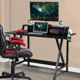 GOFLAME Gaming Computer Desk, Large Computer Gaming Workstation with Cup & Headphone Holder, Study Writing Desk for Home and Office, Black