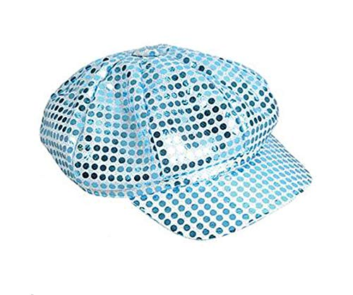 Light Blue Sequined Newsboy Cabbie Costume Hat