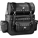 Motorcycle Sissy Bar Touring Luggage w/Studs 2 Piece Bag Set Harley Cruiser (Black)