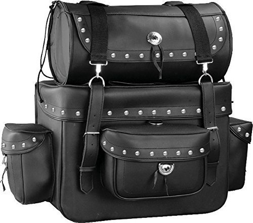 (Motorcycle Sissy Bar Touring Luggage w/ Studs 2 Piece Bag Set Harley Cruiser (Black))