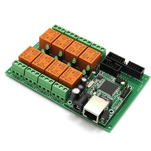 (Denkovi Assembly Electronics Ltd Ethernet Relay Controller Module, Web Server IP + Temperature Sensor LM35DZ, SNMP, Web, Android, iOS,12VDC)