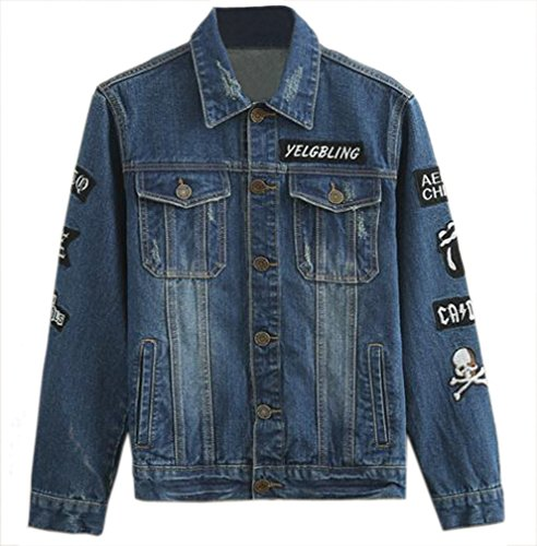 TM Men's Cool Punk Skull Embroidery Washed Denim Blouse Jacket Coat As picture
