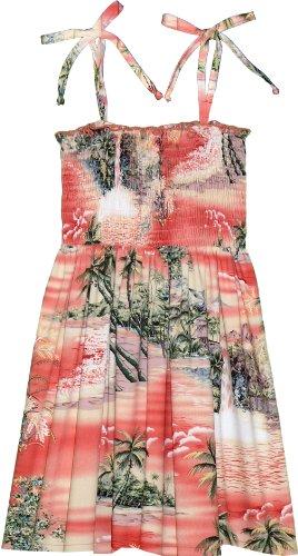 - RJC Girl's Paradise Island Surf Hawaiian Smocked Rayon Dress Orange 8