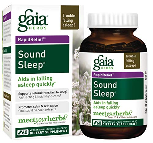Gaia Herbs Sound Sleep, Vegan Liquid Capsules, 60 Count – Herbal Sleep Aid Promotes Relaxation & Aids in Falling Asleep Quickly, Organic Kava Kava, Valerian Root