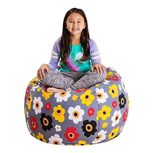 Posh Stuffable Kids Stuffed Animal Storage Bean Bag Chair Cover - Childrens Toy Organizer, Large 38 -  Floral Pattern