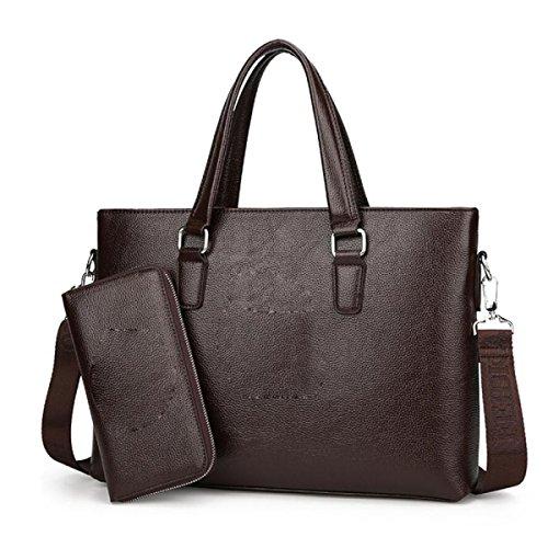 Bukuang Mens Messenger Bag Shoulder Portable Package File Businessmen Fashion Trend, Brown2 Brown1