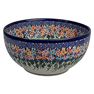 Traditional Polish Pottery, Handcrafted Ceramic Salad or Fruit Bowl 2.8l (d.24cm), Boleslawiec Style Pattern, M.705.Daisy