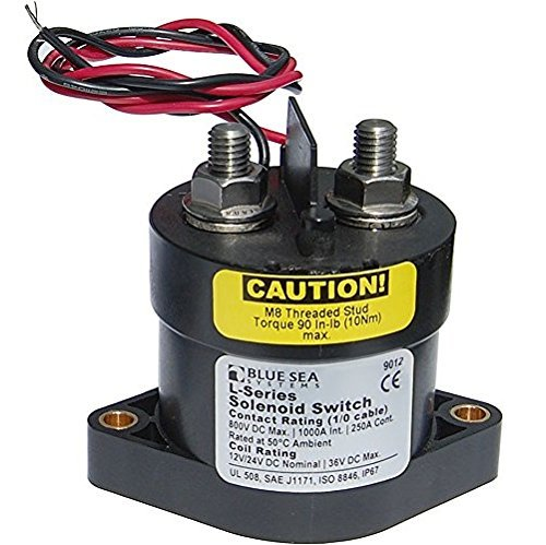 (Blue Sea Systems Solenoid Switch, 12/24VDC w/Coil Econmzr)