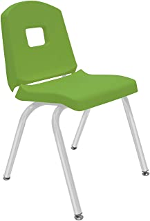 """product image for Creative Colors 1-Pack 16"""" Kids Preschool Stackable Split Bucket Chair in Sour Apple with Platinum Silver Frame and Self Leveling Nickel Glide"""