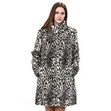 Adelaqueen Women's Light Leopard Print Lush Mink Faux Fur Coat with Stand Collar