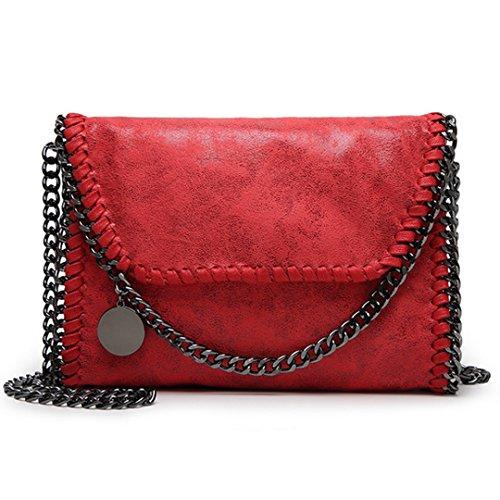 Gunmetal Leather Clutch - Goodbag Women Soft Leather Solid Color Chain Shoulder Bag Casual Crossbody Handbag Exquisite Metal Chain Strap Clutch Purse