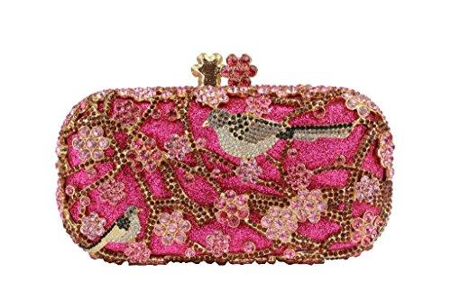 Yilongsheng Ladies embrayage Sacs avec Shiny Fleurs et oiseaux en forme de strass (rose)