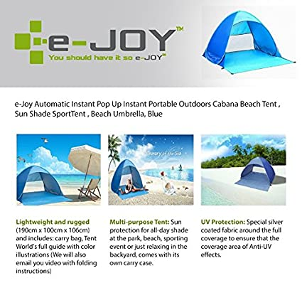 e-Joy Automatic Instant Pop Up Instant Portable Outdoors Cabana Beach Tent Shelter Sun  sc 1 st  Amazon.com & Amazon.com: e-Joy Automatic Instant Pop Up Instant Portable ...
