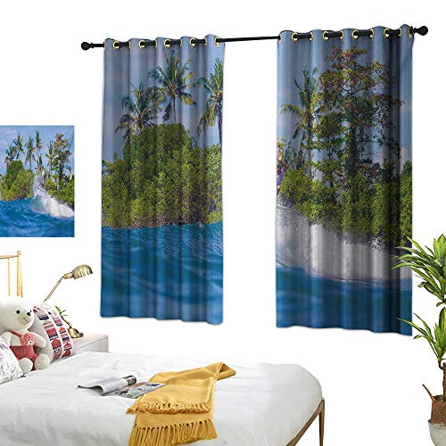 Warm Family Thermal Curtains Ride The Wave,Surfer in Ocean by Bali Island Palm Trees Dreamy Nature Scenery,Fern Green Violet Blue 84