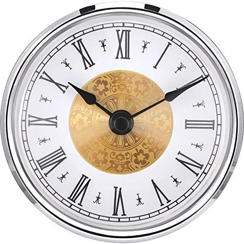 Hicarer 3-1/8 Inch (80 mm) Clock Insert with Roman Numeral, Quartz Movement, Silver Trim -