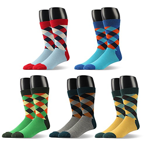 Mens Dress Shoe Socks Striped Pattern Formal Business Mid Calf- Toe Heel REINFORCED Gift Boxed (US Men Size 10.5-14/EU 44.5-49, BSK21-5 PAIRS)