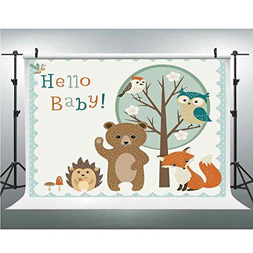 Seamless Vinyl Photo Backdrop,Kids,Photography Background Red Wood Backdrop,6.5x10ft,Hello Baby Arrival Funny Hedgehog Bee Owls Birds on Tree Bear Fox Animals Themed Party Home Decor -