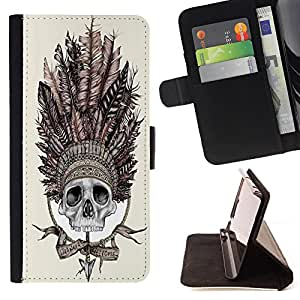 - American Indian Red Indian Feather Skull - - Flip Wallet Leather Magnetic Closure Cover Skin Case FOR Samsung Galaxy S3 MINI I8190 Justin City