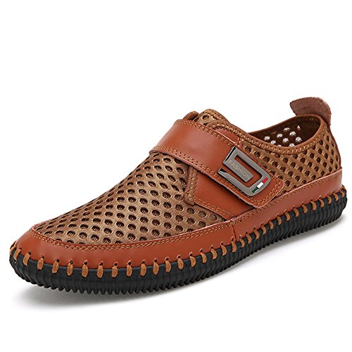 Gomnear Casual Leather Shoes Men Breathable Shoes Summer Loafer Slip on Lightweight Driving Walking Shoes by Light Brown