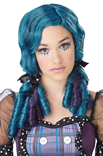Doll Curls Japanese Anime Child Costume Wig - Teal/Purple