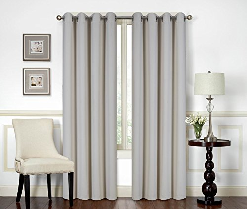 All American Collection New 2 Panel Curtain Set Solid Machine Woven Blackout with 8 Grommets (Beige)