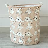 Yiliag Animals Cartoon Laundry Hamper Linen Cotton Laundry Basket Toy Clothes Laundry Bin-Pink/Sheep