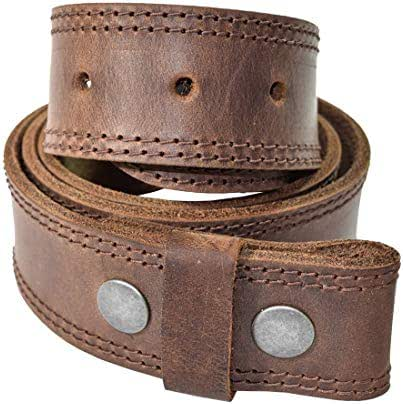 Two Row Stitch Thick Leather Snap On Belt Handmade by Hide & Drink Includes 101 Year Warranty :: Bourbon Brown