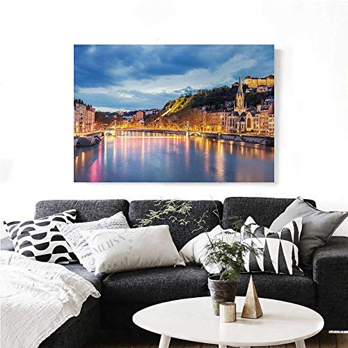 homehot European Canvas Wall Art for Bedroom Home Decorations View of Saone River in Lyon City at Evening France Blue Hour Historic Buildings Art Stickers 36