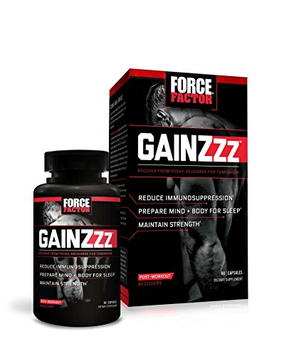 GainZzz Post-Workout Recovery Supplement + Sleep Aid with Melatonin and Wellmune, Reduce Immunosuppression & Maintain Strength, Force Factor, 60 Count